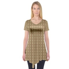 Pattern Background Brown Lines Short Sleeve Tunic