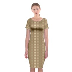 Pattern Background Brown Lines Classic Short Sleeve Midi Dress