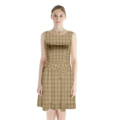Pattern Background Brown Lines Sleeveless Chiffon Waist Tie Dress