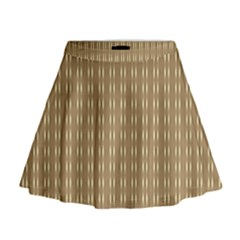Pattern Background Brown Lines Mini Flare Skirt