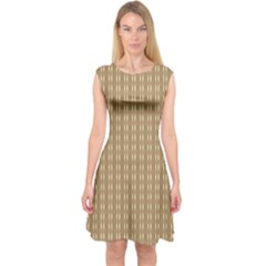 Pattern Background Brown Lines Capsleeve Midi Dress