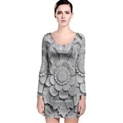 Pattern Motif Decor Long Sleeve Bodycon Dress