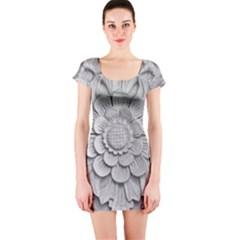 Pattern Motif Decor Short Sleeve Bodycon Dress