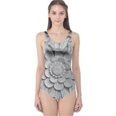 Pattern Motif Decor One Piece Swimsuit