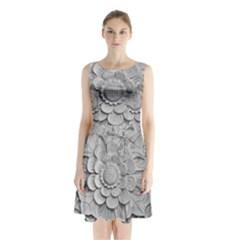Pattern Motif Decor Sleeveless Chiffon Waist Tie Dress