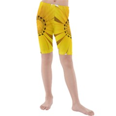 Transparent Flower Summer Yellow Kids  Mid Length Swim Shorts