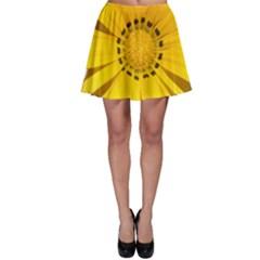 Transparent Flower Summer Yellow Skater Skirt
