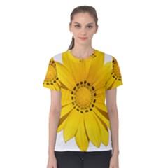 Transparent Flower Summer Yellow Women s Cotton Tee