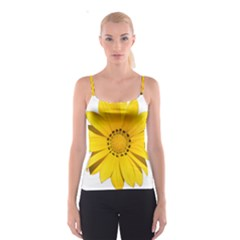 Transparent Flower Summer Yellow Spaghetti Strap Top
