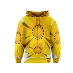 Transparent Flower Summer Yellow Kids  Zipper Hoodie
