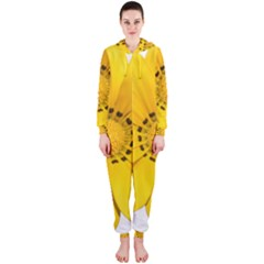 Transparent Flower Summer Yellow Hooded Jumpsuit (Ladies)