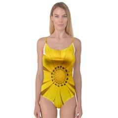 Transparent Flower Summer Yellow Camisole Leotard