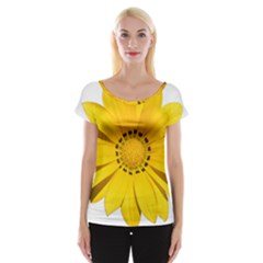 Transparent Flower Summer Yellow Women s Cap Sleeve Top
