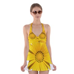 Transparent Flower Summer Yellow Halter Swimsuit Dress