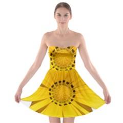 Transparent Flower Summer Yellow Strapless Bra Top Dress