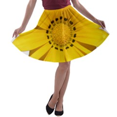 Transparent Flower Summer Yellow A-line Skater Skirt