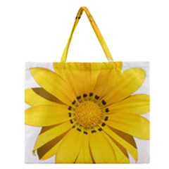 Transparent Flower Summer Yellow Zipper Large Tote Bag