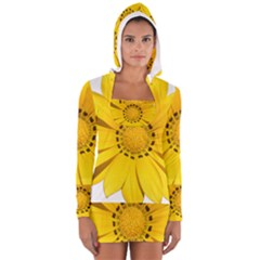 Transparent Flower Summer Yellow Women s Long Sleeve Hooded T-shirt