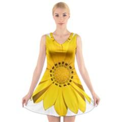 Transparent Flower Summer Yellow V-Neck Sleeveless Skater Dress