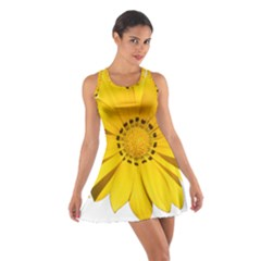 Transparent Flower Summer Yellow Cotton Racerback Dress