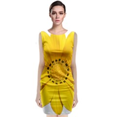 Transparent Flower Summer Yellow Classic Sleeveless Midi Dress