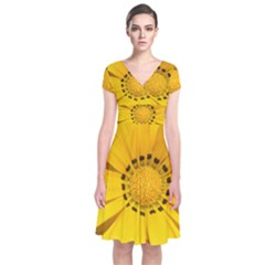 Transparent Flower Summer Yellow Short Sleeve Front Wrap Dress