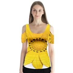 Transparent Flower Summer Yellow Butterfly Sleeve Cutout Tee