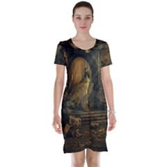 Woman Lost Model Alone Short Sleeve Nightdress