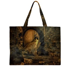 Woman Lost Model Alone Large Tote Bag