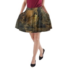 Woman Lost Model Alone A Line Pocket Skirt