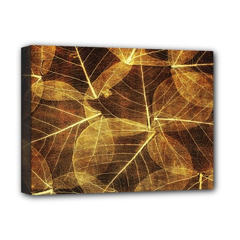 Leaves Autumn Texture Brown Deluxe Canvas 16  x 12