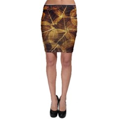 Leaves Autumn Texture Brown Bodycon Skirt