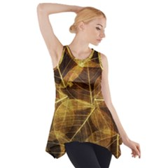 Leaves Autumn Texture Brown Side Drop Tank Tunic