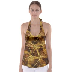 Leaves Autumn Texture Brown Babydoll Tankini Top