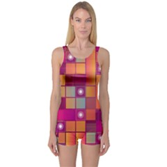 Abstract Background Colorful One Piece Boyleg Swimsuit