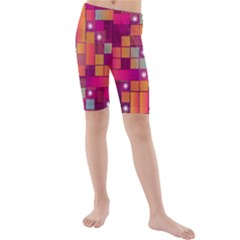 Abstract Background Colorful Kids  Mid Length Swim Shorts