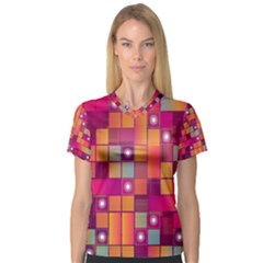 Abstract Background Colorful Women s V-Neck Sport Mesh Tee