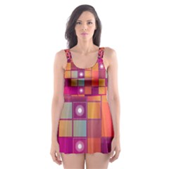 Abstract Background Colorful Skater Dress Swimsuit