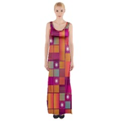 Abstract Background Colorful Maxi Thigh Split Dress