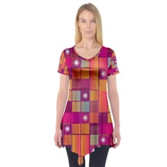 Abstract Background Colorful Short Sleeve Tunic