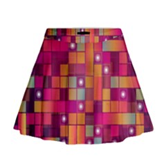 Abstract Background Colorful Mini Flare Skirt