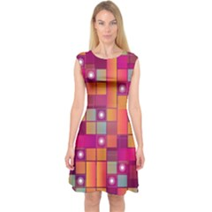 Abstract Background Colorful Capsleeve Midi Dress