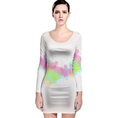 Abstract Color Pattern Colorful Long Sleeve Bodycon Dress