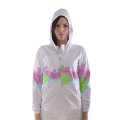 Abstract Color Pattern Colorful Hooded Wind Breaker (Women)