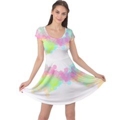 Abstract Color Pattern Colorful Cap Sleeve Dresses