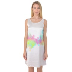 Abstract Color Pattern Colorful Sleeveless Satin Nightdress