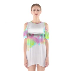 Abstract Color Pattern Colorful Shoulder Cutout One Piece