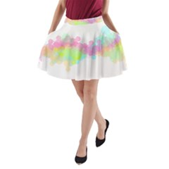 Abstract Color Pattern Colorful A-Line Pocket Skirt