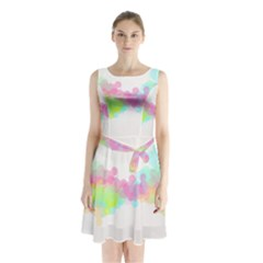 Abstract Color Pattern Colorful Sleeveless Chiffon Waist Tie Dress