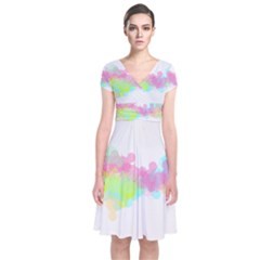 Abstract Color Pattern Colorful Short Sleeve Front Wrap Dress